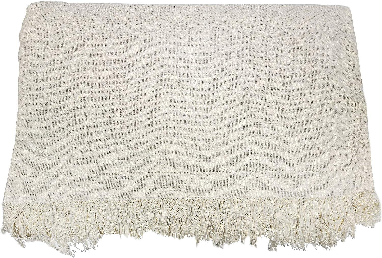 ADP Home - Plaid/Colcha Multiusos Zigzag Ideal para Cama o Sofá (Medida: 230x260 cm), Crudo