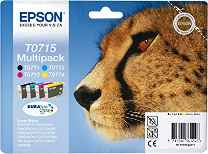 Epson T0715 - Pack cartuchos de tinta (4 colores) Stylus SX610FW, SX600FW, SX515W, SX510W, SX415, SX410, SX405, SX400, SX218, SX215, SX210, SX205, SX200, Ya disponible en Amazon Dash Replenishment: Epson: Amazon.es: Oficina
