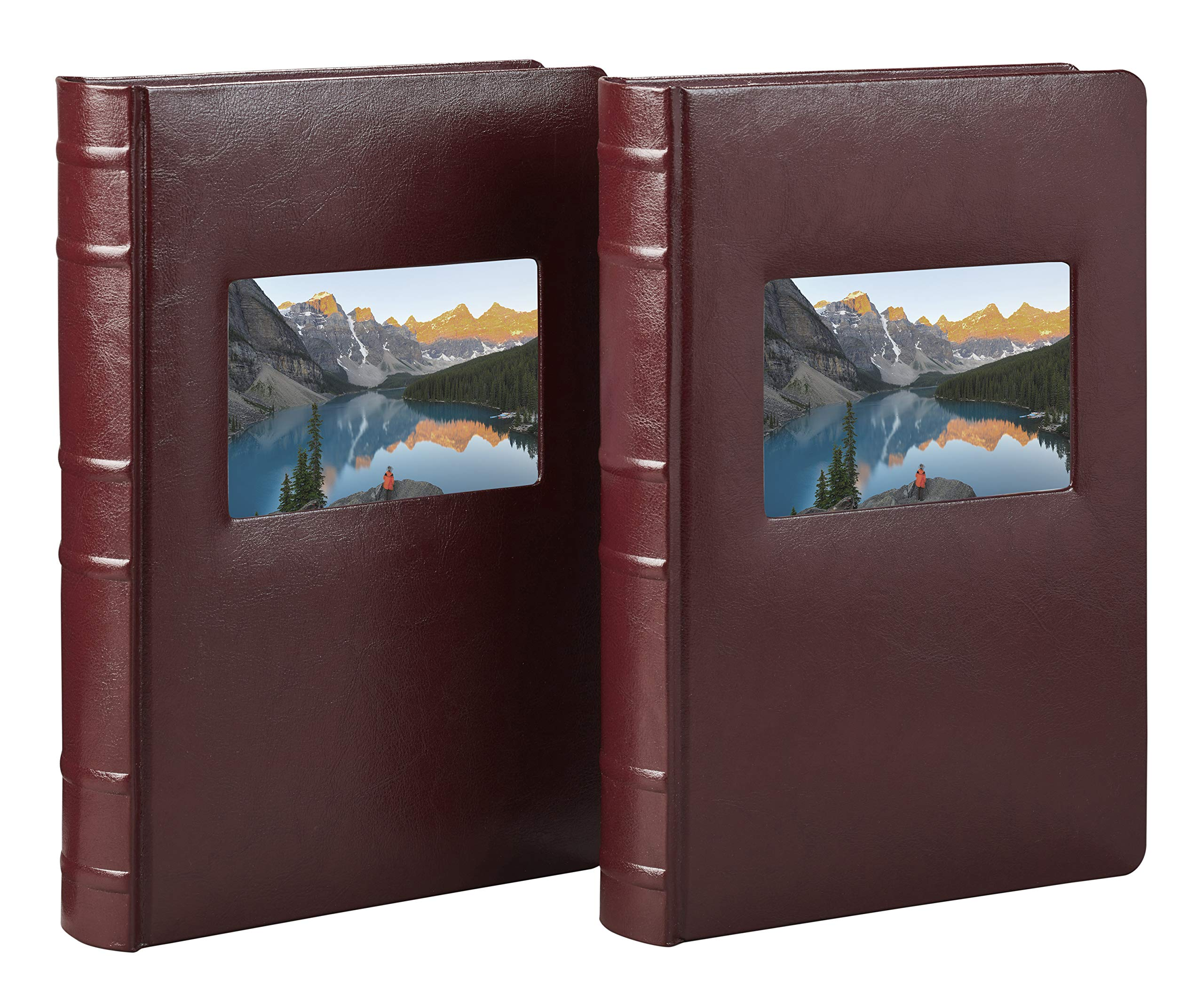 Old Town Bonded Leather Photo Album, 2 Pack (Burgundy)