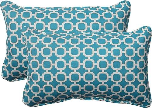 Pillow Perfect Outdoor Indoor Hockley Teal Lumbar Pillows, 11.5 x 18.5 , Blue, 2 Pack