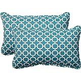"Pillow Perfect Outdoor/Indoor Hockley Teal Lumbar Pillows, 11.5"" x 18.5"", Blue, 2 Pack"