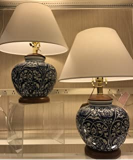 pair of two 2 ralph lauren round ginger jar blue and white floral