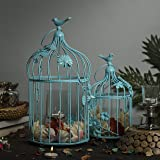 Homesake Turquoise Bird Cage with Floral Vine (Set of 2), With Hanging Chain