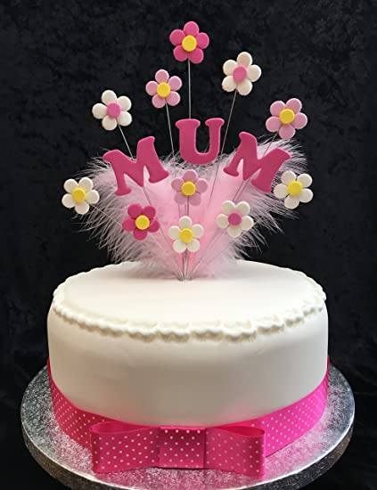 Mum Birthday Cake Topper Pinks White With Flowers Feathers Plus
