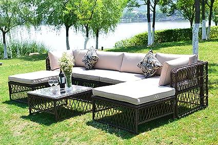 gojooasis luxury outdoor patio pe wicker rattan sofa sectional furniture conversation set with cushion pillow - Luxury Patio Furniture