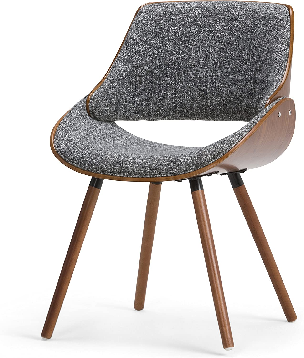 Simpli Home AXCMALW-G Malden Mid Century Modern Bentwood Dining Chair with Wood Back in Grey Woven Fabric