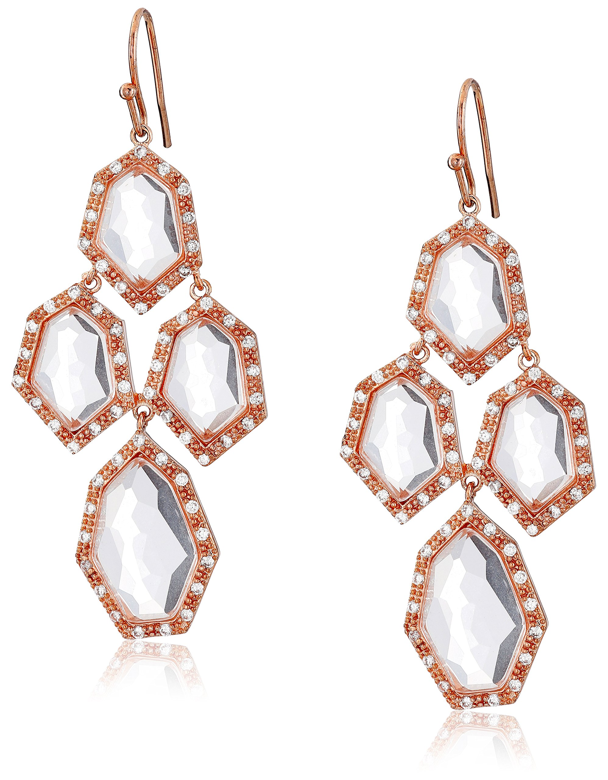 Riccova''City Lights'' Rose Gold-Plated Cubic Zirconia and Faceted Glass Chandelier Earrings by Riccova