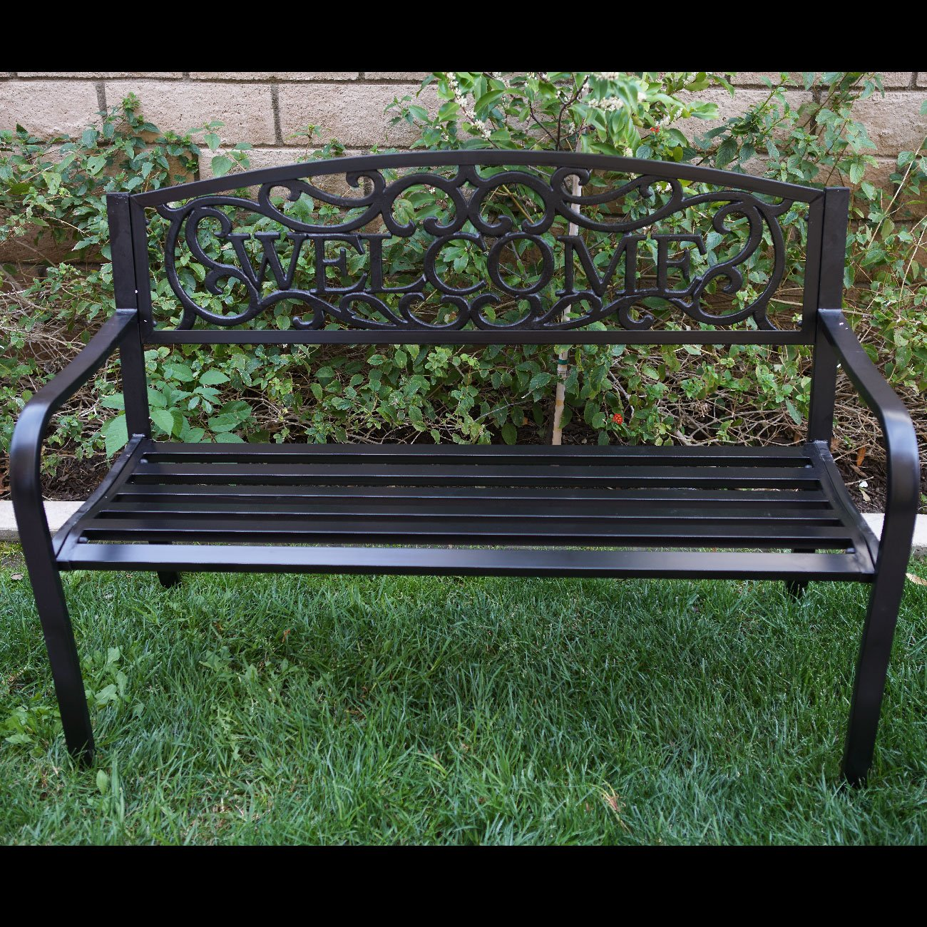 Belleze 50'' Blossoming Garden Decorative Patio Park Bench, Black