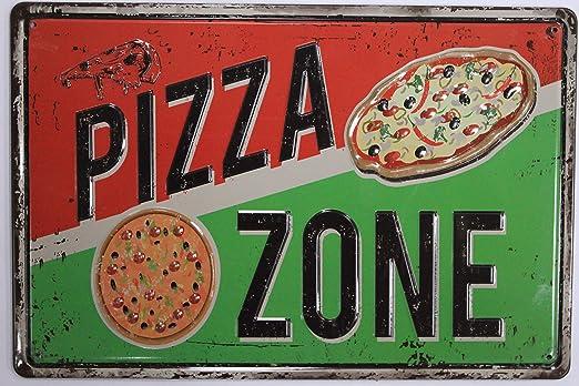 Amazon.com: Pizza Zone Cartel de chapa restaurante cocina ...