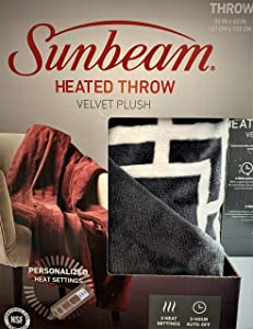 Sunbeam Electric Heated Premium Plush Blanket Throw with 3-Heat Settings, Auto-Off, Machine Washable 5 Year Warranty, Grey/White Lattice