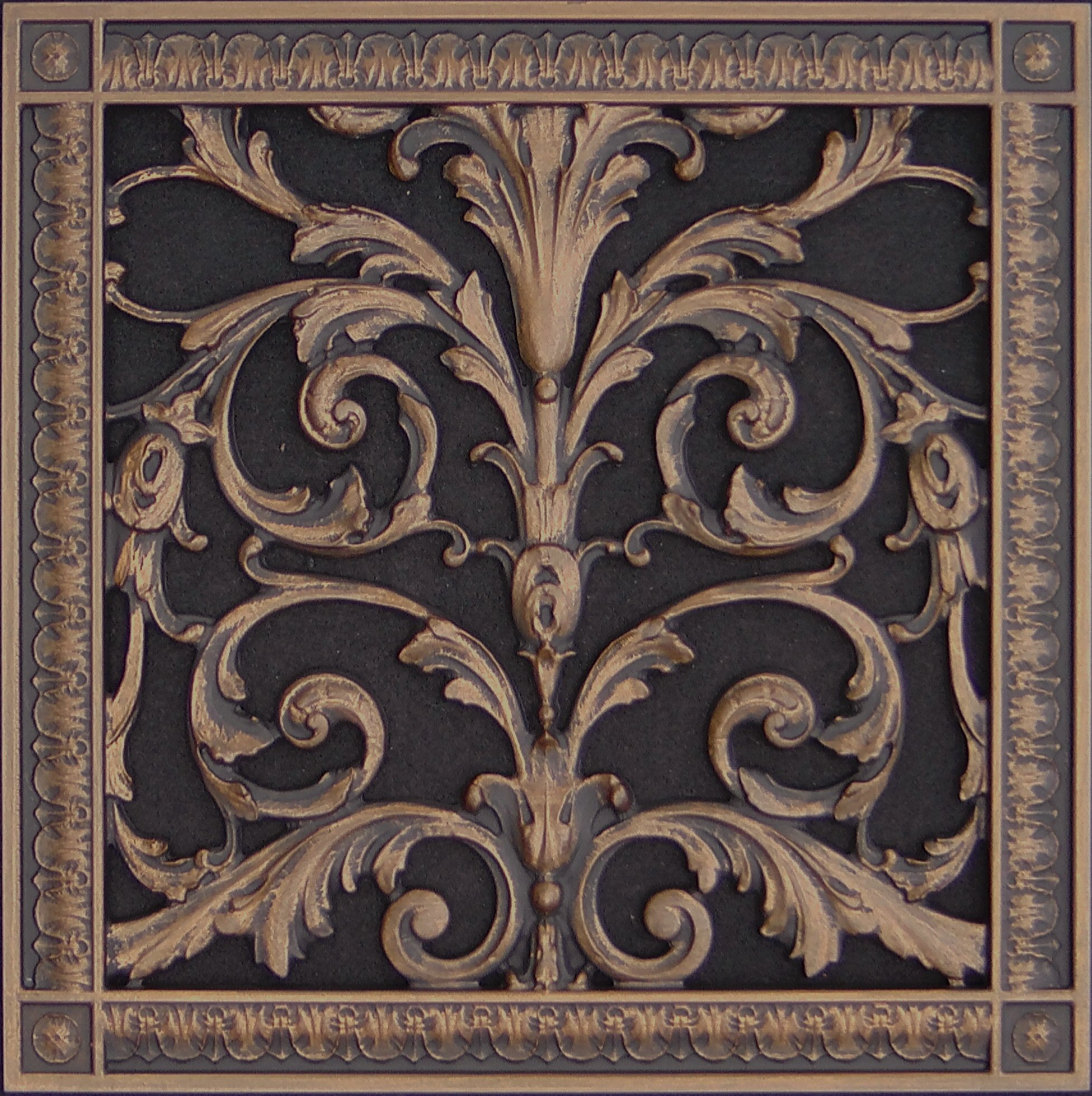 "Decorative Vent Cover, Grille, made of Urethane Resin in Louis XIV, French style fits over a 12"" x 12"", Total size, 14"" by 14"", for wall & ceiling installation only. (not for floors) (Rubbed Bronze) by Beaux-Artes, Ltd."