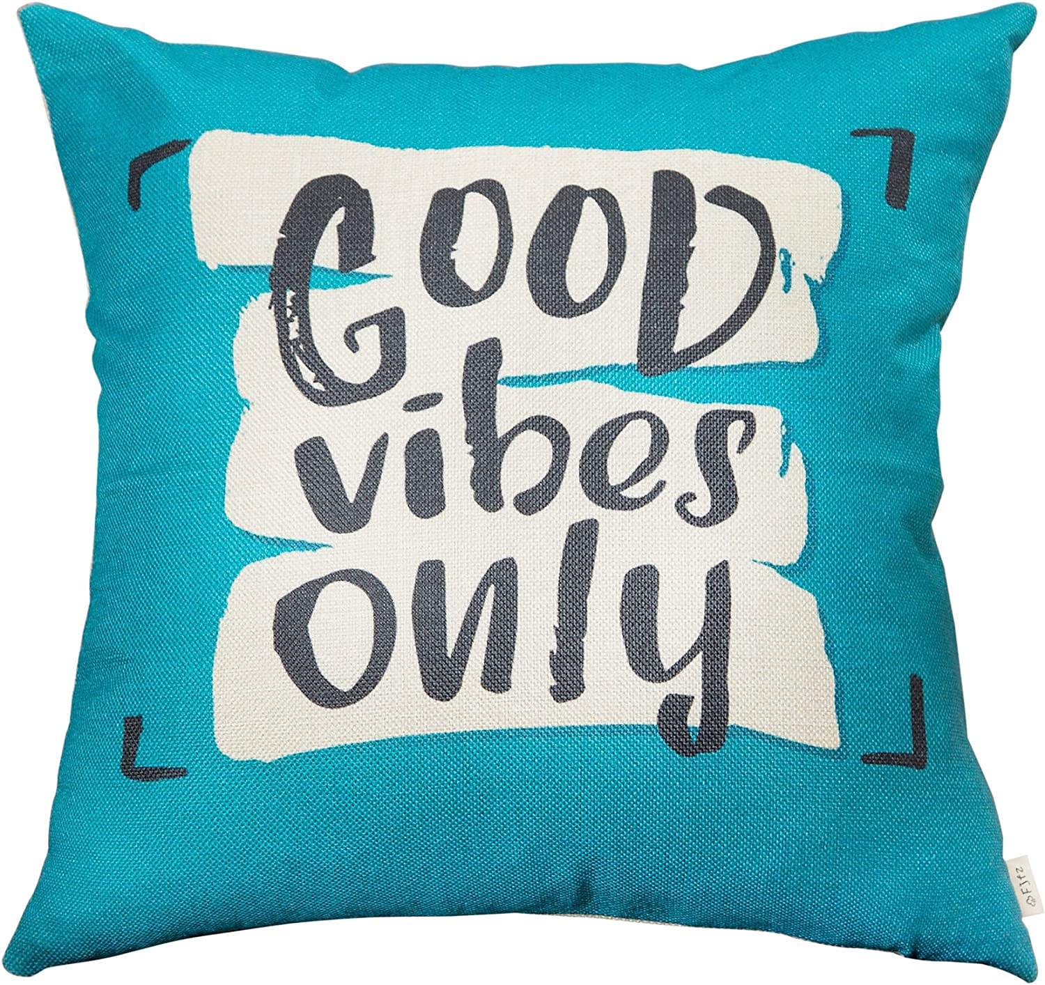 """Fjfz Good Vibes Only Motivational Sign Décor Inspirational Quote Decoration Cotton Linen Home Decorative Throw Pillow Case Cushion Cover with Words for Sofa Couch, Teal and Turquoise, 18"""" x 18"""""""