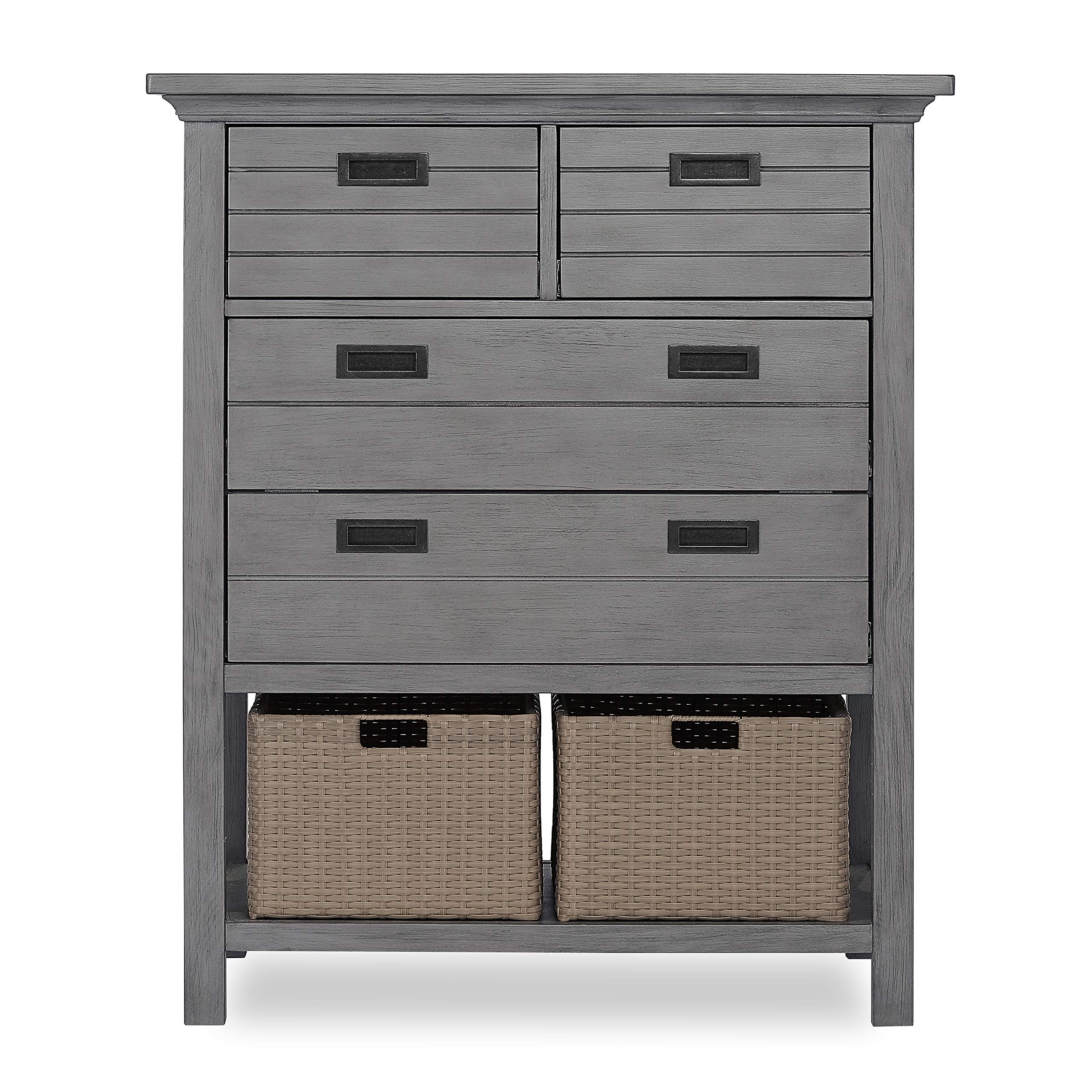 Evolur Waverly Tall Chest with Baskets, Rustic Grey by Evolur