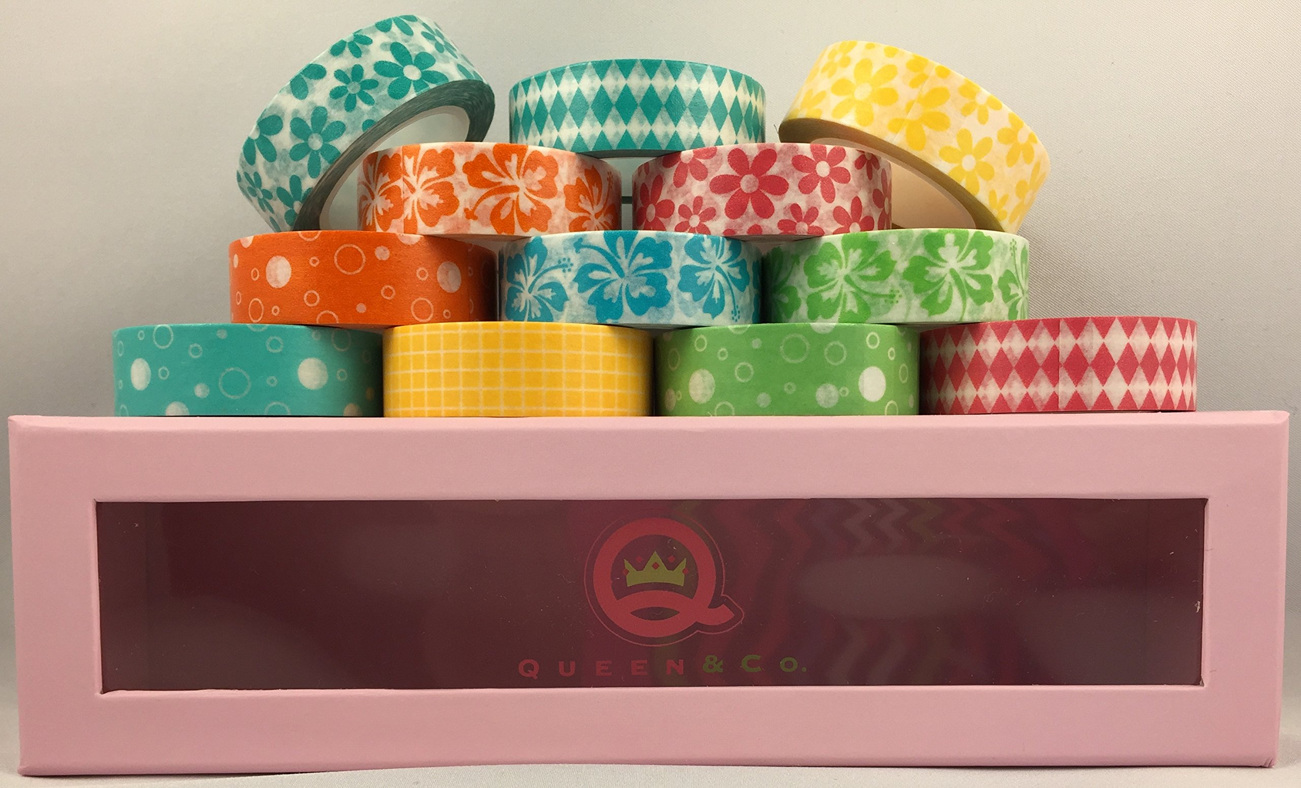 Washi Trendy Tape - Flowers, Diamonds, Bubbles, Polkadots, Grid - Self-adhesive Removeable Paper Tape Bundle of 12 Rolls, Each 1/2'' X 10 Yards in a Cute Limited Edition Pink Polkadot Storage Box, By Queen & Co.