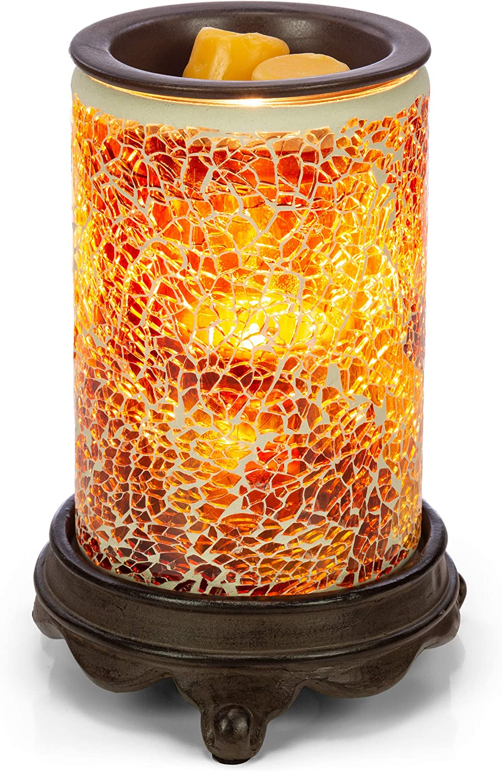 VP Home Mosaic Glass Fragrance Warmer (Glowing Amber)