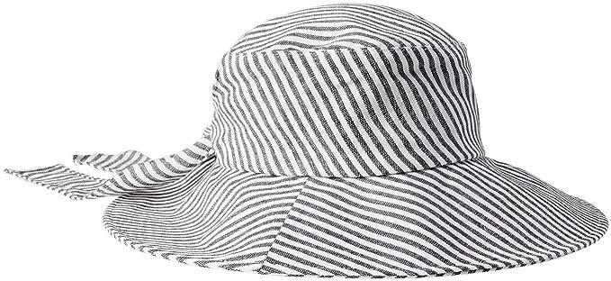 94af43b9399562 Karen Kane Women's Fabric Sun Floppy Hat, Navy Stripe, One Size at ...