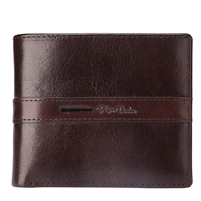 6f8d8321a00b BISON DENIM Mens Genuine Leather Wallet Bifold Wallets ID Card Holder Purse  Coffee