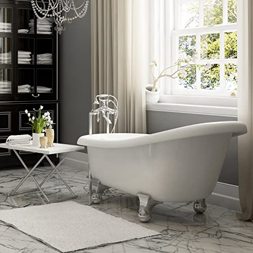 Luxury 60 inch Modern Clawfoot Tub in White with Stand-Alone Freestanding Tub Design, Includes Modern Polished Chrome Cannonball Feet and Drain, From The Brookdale Collection