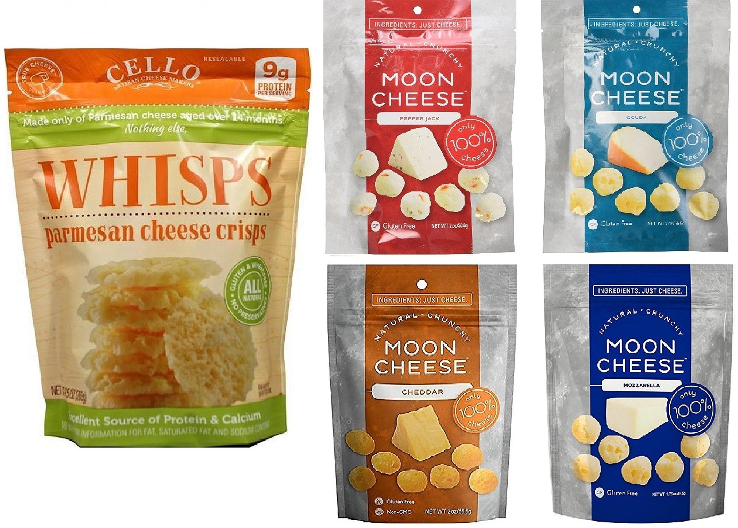 Whisps Parmesan (9.5 oz) & Moon Cheese Cheddar, Gouda, Pepperjack and Mozzarella (2 oz)