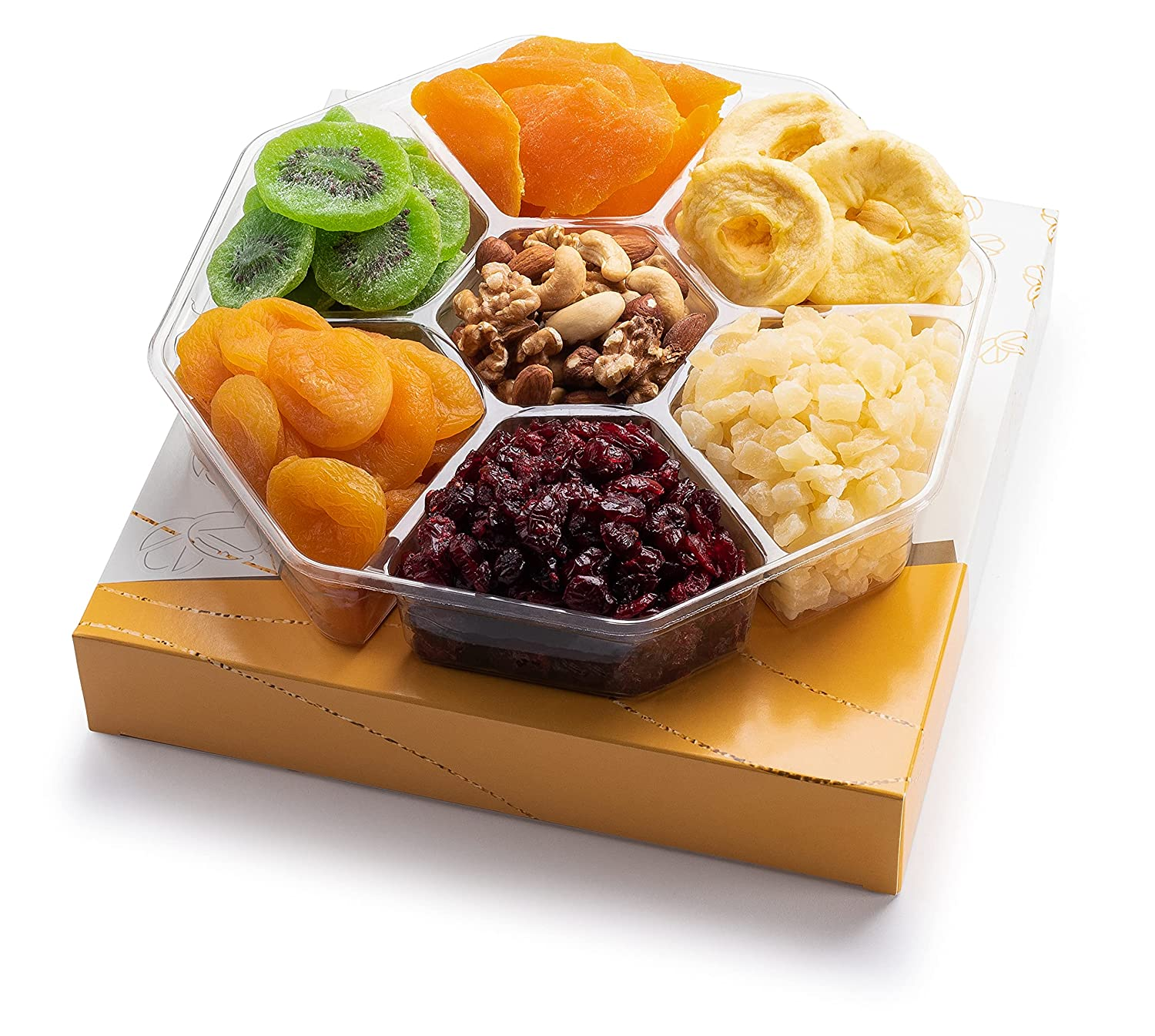 Gourmet Dried Fruit & Nut Gift Basket, 7 Varieties Food Platter care Package Tray | Healthy Kosher Snack Box for Holiday, Thanksgiving, Birthday, Mothers and Fathers Day (3. Extra-Large Gift Basket)