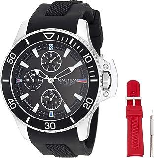 9f11d8665eee Nautica  Bayside Multi  Reloj casual de cuarzo de acero inoxidable y  silicona para hombre