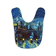 Westlake Art - Starry Night Castle Night Boats - Baby Bib - Abstract Artwork Baby Feeding