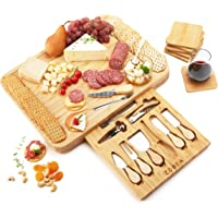 Extra Large Cheese Board Set With 6 Coasters For Drink and Knife Set, 17.25 x 13.25 x 2 Inches Large Charcuterie Boards…