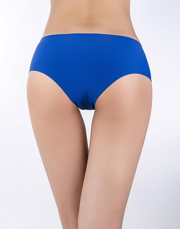 SHEKINI Mutande Slip Invisibile sennza Cuciture a Vita Bassa di Colore Puro Mutandine Invisibili Stile Bikini Lingerie Intimo da Donna Pacco da 4//6