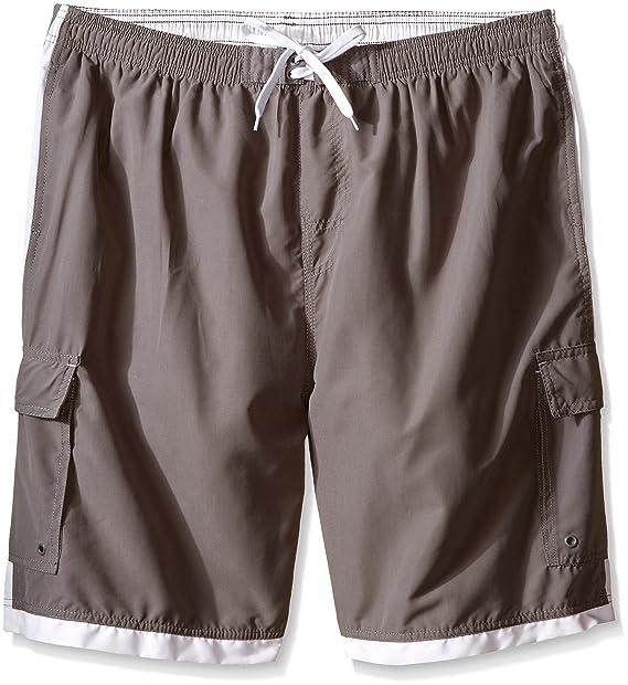 1a60703e85 Burnside Men's Big-Tall Impersonator Elastic Waist Knee Length Swim Trunk,  Grey, 3X