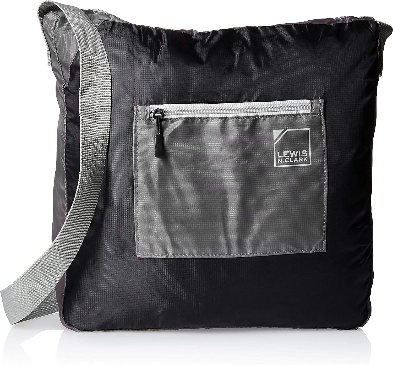 """Black//Gray Lewis N Clark 15/"""" Packable Tote with Neoprene Zip Pouch Travel One Size"""