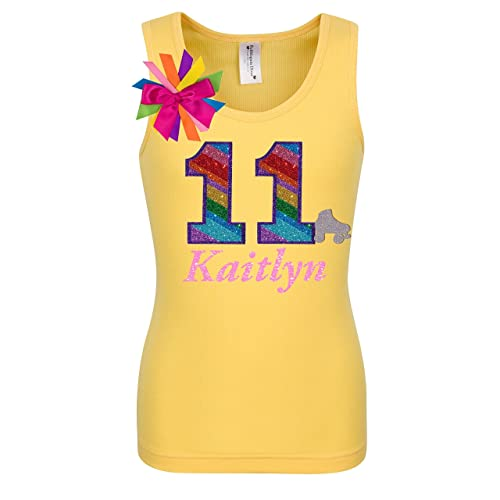 11th Birthday Shirt Rainbow Eleven Glitter Roller Skate Tween Girls Glow Party Personalized Name 11