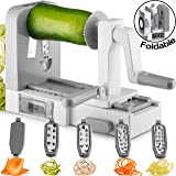 Gourmia GSS9615 Foldable 5 Blade Spiralizer Vegetable Slicer - 5 Stainless Steel Blades for Thick and Thin Pasta Spirals - No-Skid Suction Feet - Storage Container - BPA Free Gray