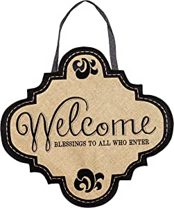 Evergreen Flag Classic Modern Welcome Burlap Door Decor - 14 x 18 Inches Fade and Weather Resistant Outdoor Front Door Decor for Homes, Yards and Gardens