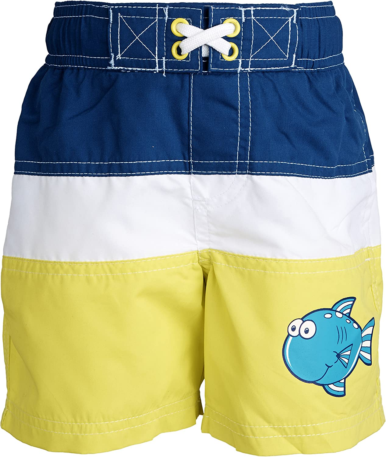 Wippette Little Boys Printed Fish Swim Trunk and Hooded Knit Coverup Beach Set