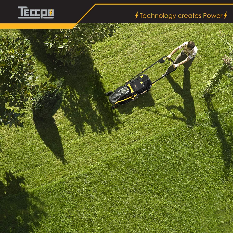 Sac /à herbe 35L TDLM01G TECCPO Tondeuse /à gazon,28V 4.0Ah Tondeuse /à gazon sans fil Cinq hauteurs de coupe r/églables Triple d/émarrage de s/écurit/é Moteur sans balais largeur de coupe 330mm