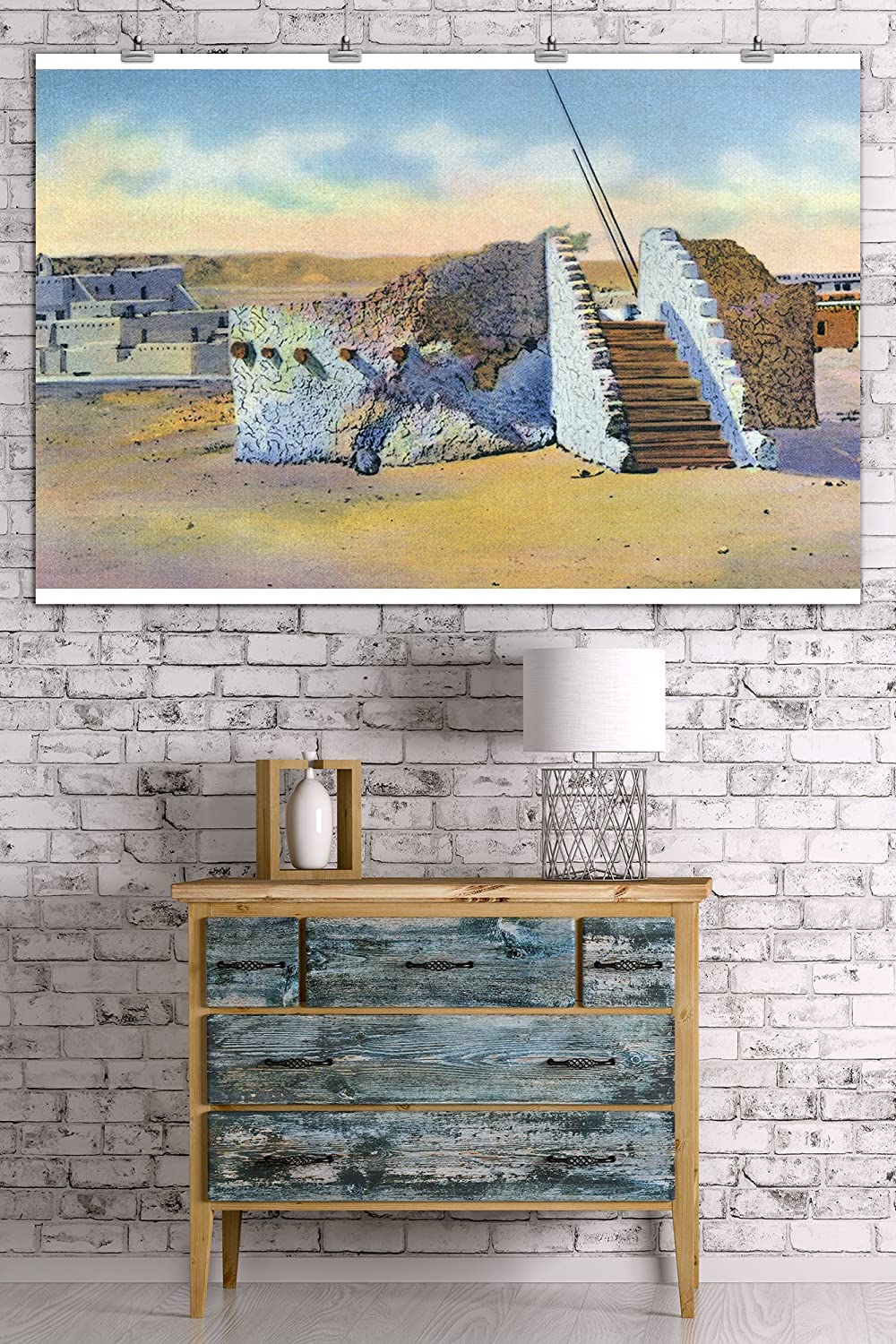 Amazon.com: New Mexico - View of a Pueblo Indian Estufa or Kiva (36x54 Giclee Gallery Print, Wall Decor Travel Poster): Posters & Prints