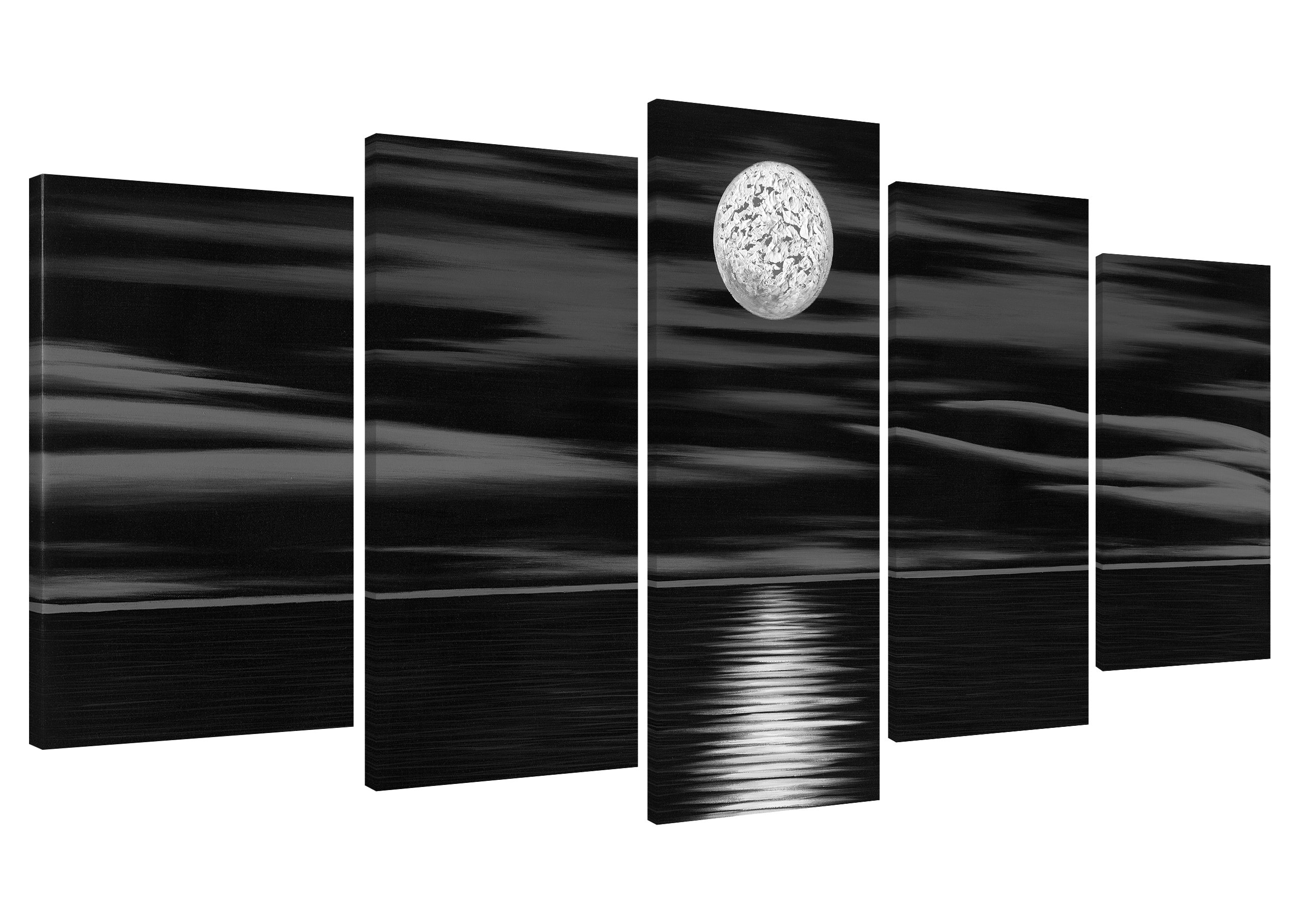 Wieco Art Sea White Full Moon in Night Oil Paintings on Canvas Wall Art Black and White Ocean Beach for Living Room Bedroom Kitchen Home Decorations 5 Piece Modern 100% Hand Painted Abstract Artwork