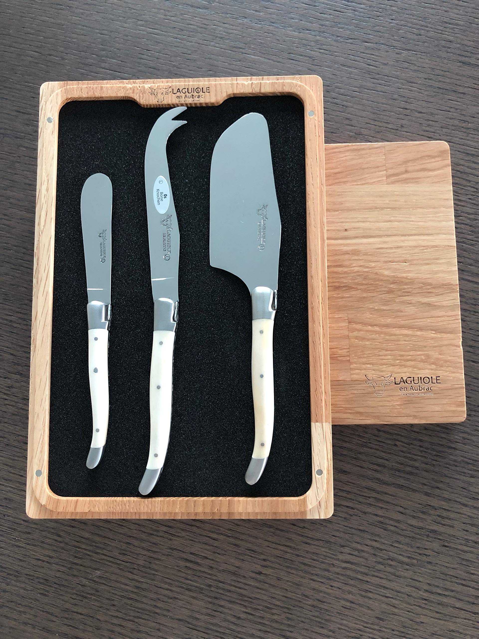 Laguiole en Aubrac 3-Piece Cheese Knife Set with Bone Handles