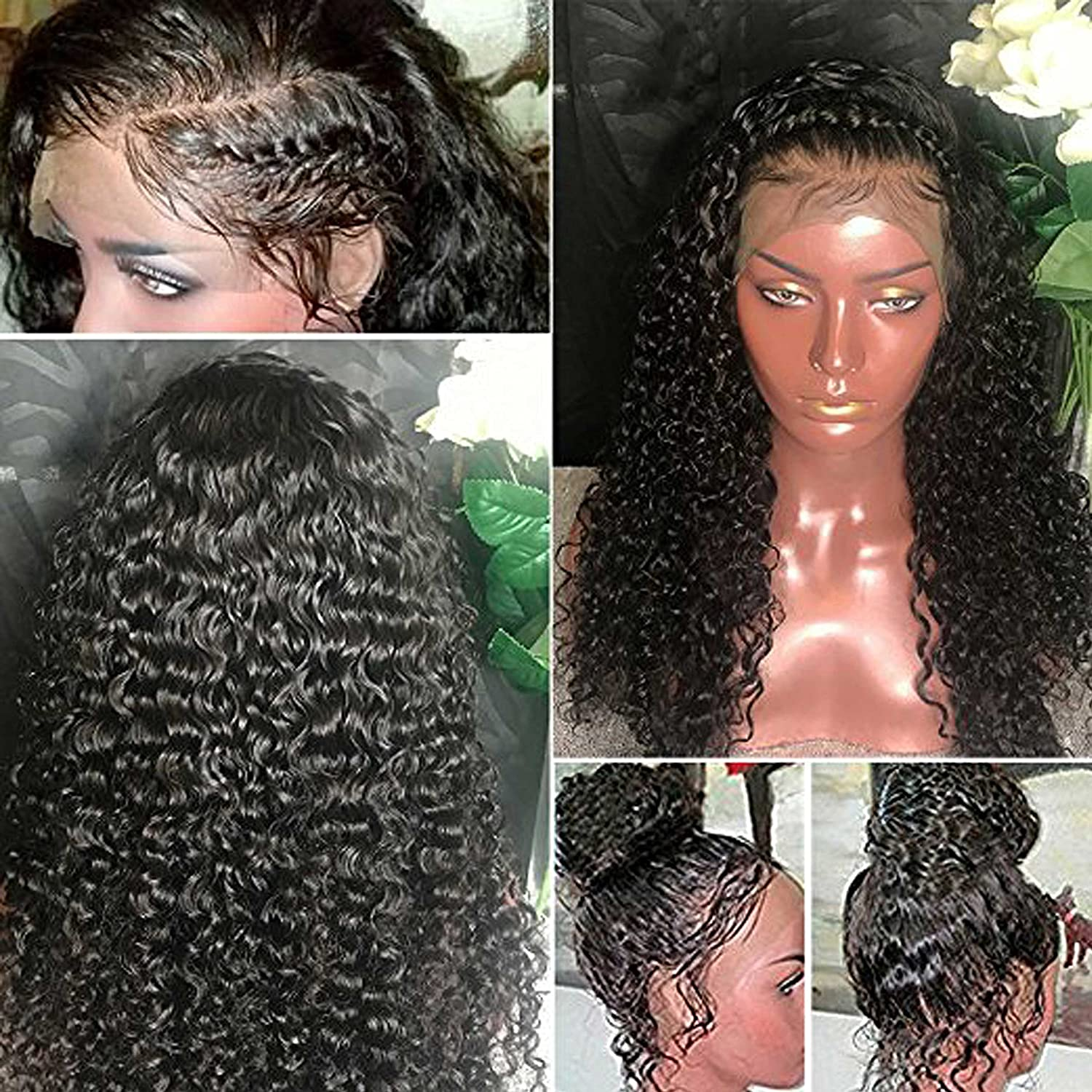 16cc72158 Amazon.com : Rishang Hair 180% Density 360 Lace Frontal Wig Deep Curly  Virgin Brazilian Hair Lace Wigs 7A Lace Front Human Hair Wigs Pre Plucked  With ...
