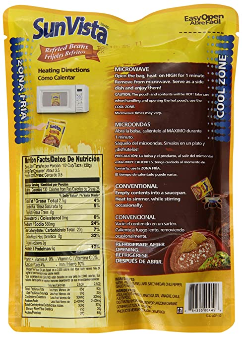 Amazon.com : Sun Vista Pinto Beans, Refried, 16 Ounce (Pack of 12 ...