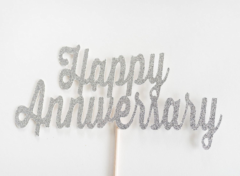 Silver Glitter 'Happy Anniversary' Script Cake Topper, Wedding, Handwritten, Hand Writing, Celebration