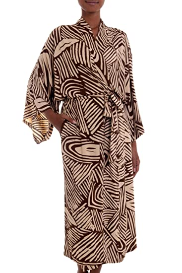 3bdb90e0b69 Image Unavailable. Image not available for. Color  NOVICA Brown Rayon Robe  ...
