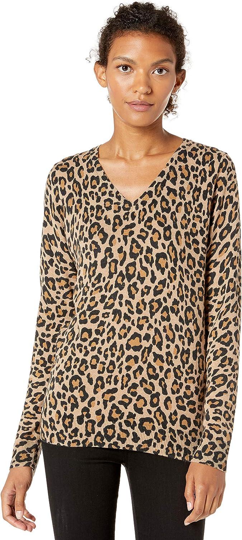 Camel Heather Animal Print Small Essentials Womens Standard Lightweight V-Neck Sweater