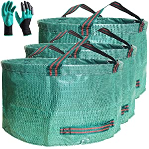 Professional 3-Pack 63 Gallons Lawn Garden Bags Yard waste Bag with Gardening Gloves - XX Large Size Standable Reusable Leaf Grass Bag Trash Containers for Gardening,Lawn and Yard Waste Bags,4 Handles