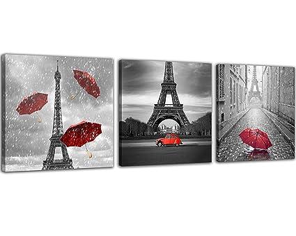 Amazon.com: NAN Wind 3 Pcs Paris Canvas Prints Black and White ...
