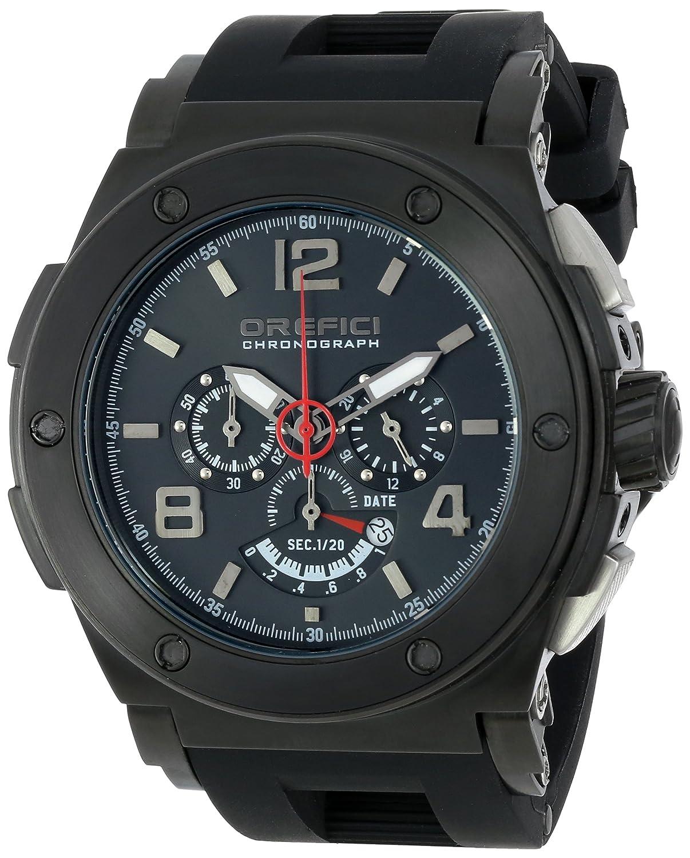 Orefici ORM1C4804 Herren schwarzes Silikonband schwarzes Zifferblatt Regata Chronograph Watch