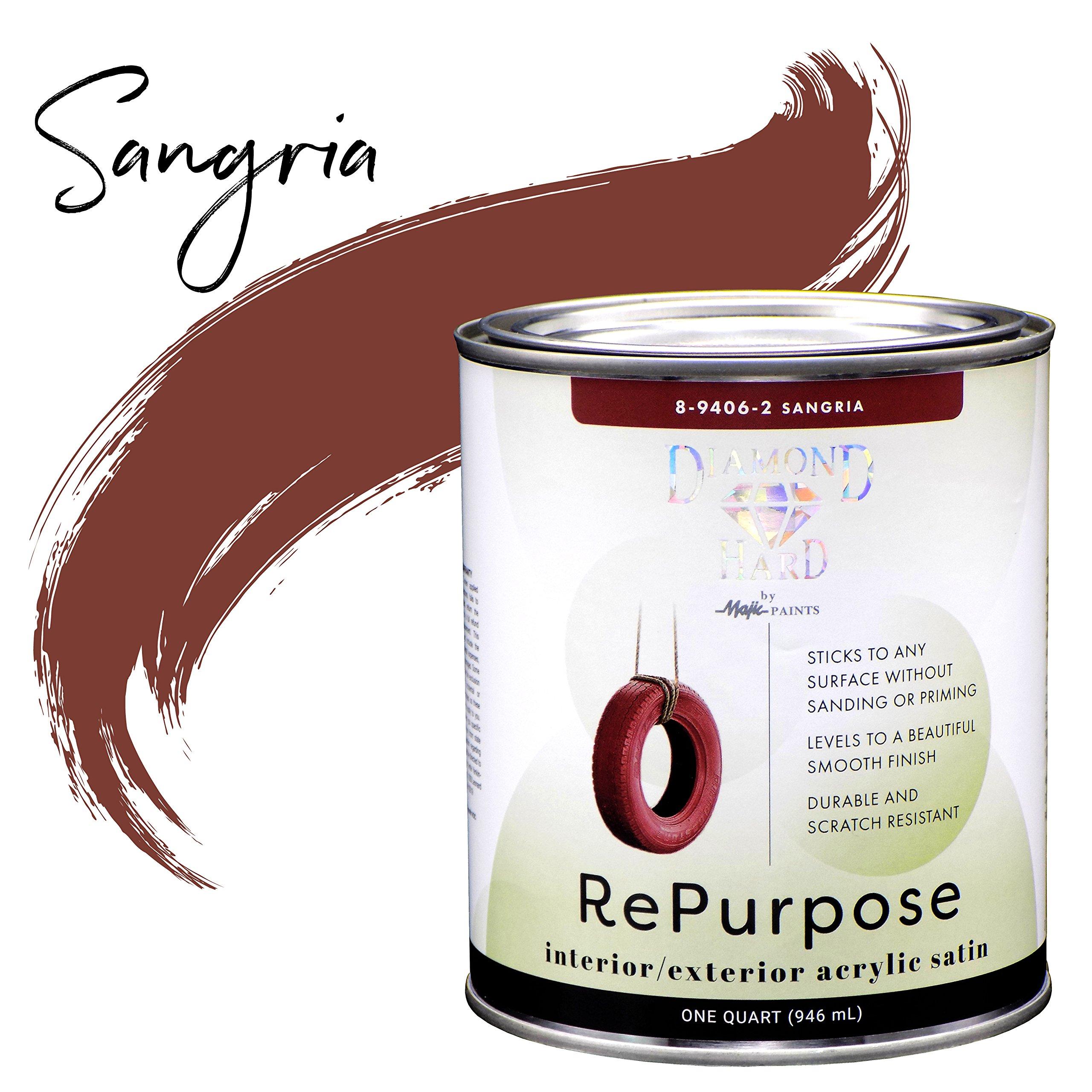 Majic Paints 8-9406-2 Diamond Hard Repurpose Enamel Paint for Interior Or Exterior, 1-Quart, Sangria Red