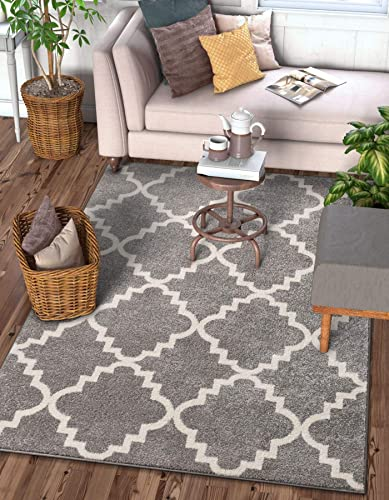 Harbor Trellis Grey Quatrefoil Geometric Modern Casual Area Rug 3×5 3'3″ x 4'7″ Easy to Clean Stain Fade Resistant Shed Free Contemporary Traditional Moroccan Lattice Soft Living Dining Room Rug