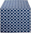 "DII Lattice Cotton Table Runner for Dining Room, Foyer Table, Summer Parties and Everyday Use - 14x72"", Nautical Blue and White"