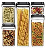 Amazon Price History for:Royal Air-Tight Food Storage Container Set - 5-Piece Set - Durable Plastic - BPA Free - Clear Plastic with Black Lids